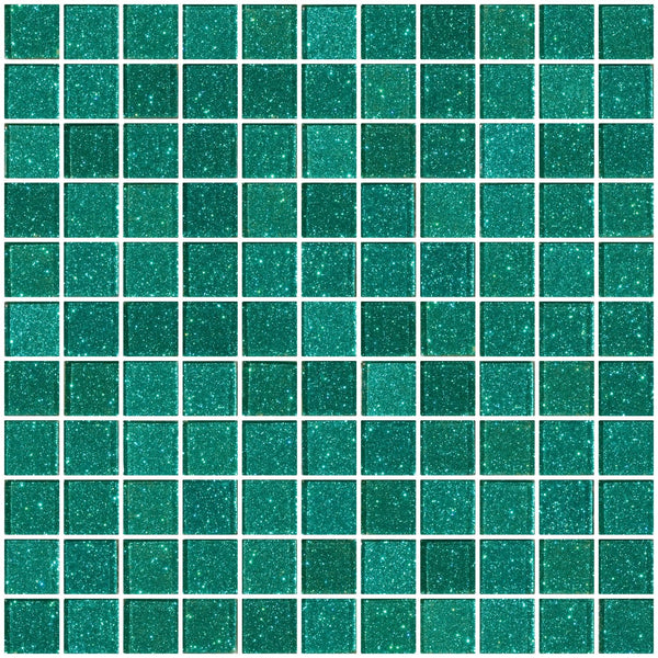 1 Inch Aqua Green Glitter Glass Tile