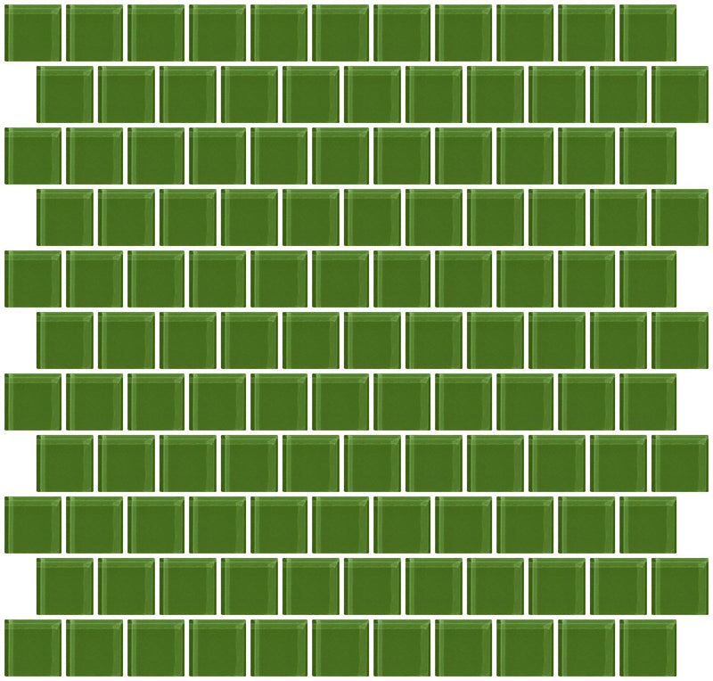 1 Inch Emerald Green Glass Tile Reset In Offset Layout