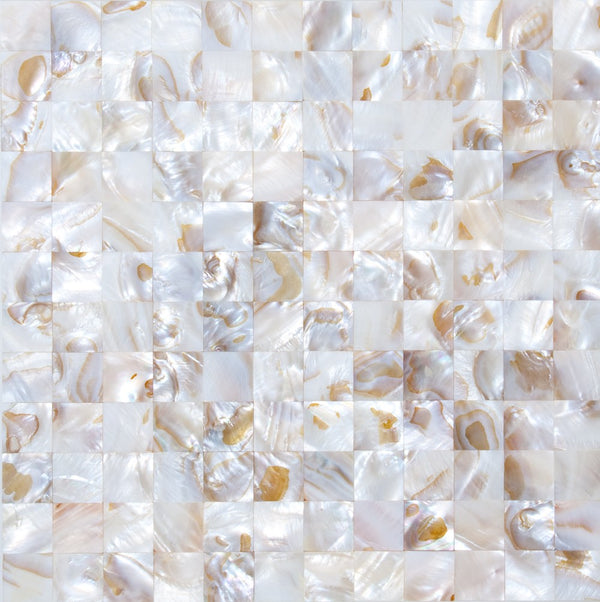 1 Inch Toffee White Shell Tile