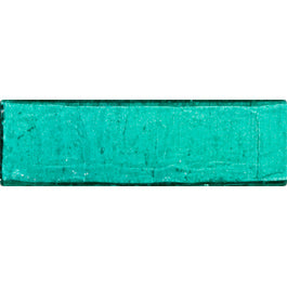 Sample of 1x3 Inch Teal Green Transparent Glass Subway Tile Stacked