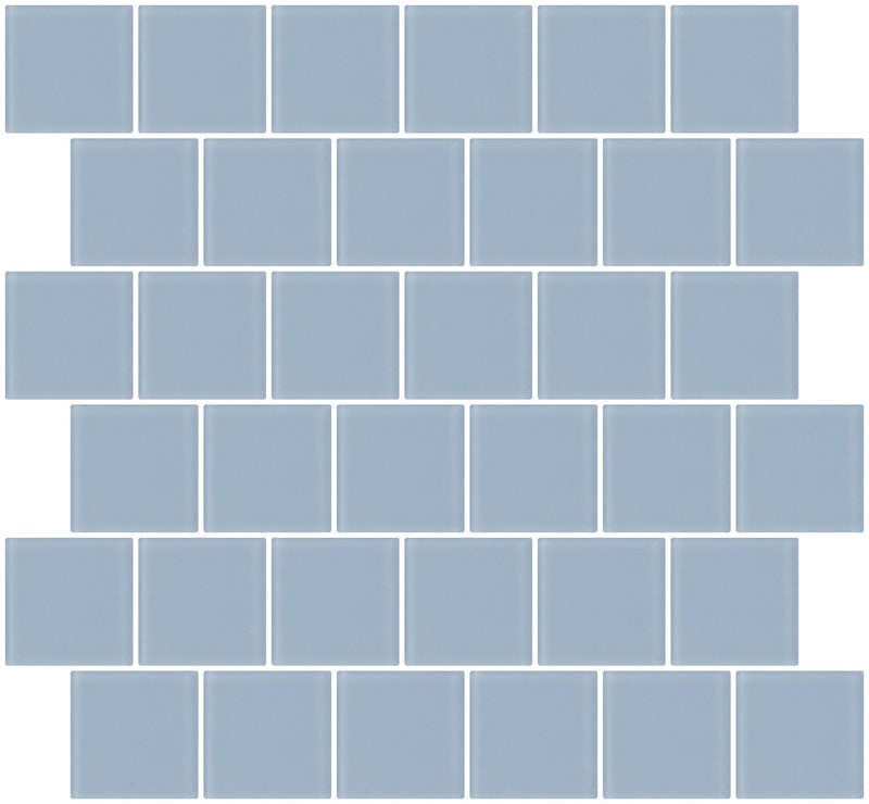 2x2 Inch Pale Sky Blue Frosted Glass Tile Reset In Offset Layout