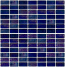 3/4 x 1 1/2 Inch Blue Iridescent Glass Subway Tile Stacked