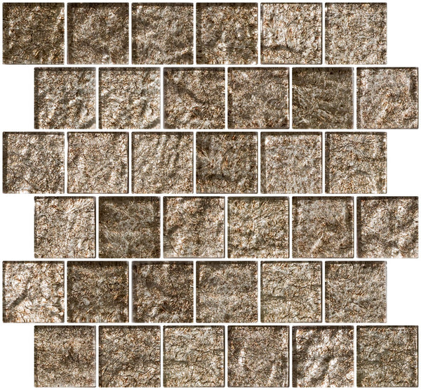 2x2 Inch Espresso Brown Satin Metallic Glass Tile