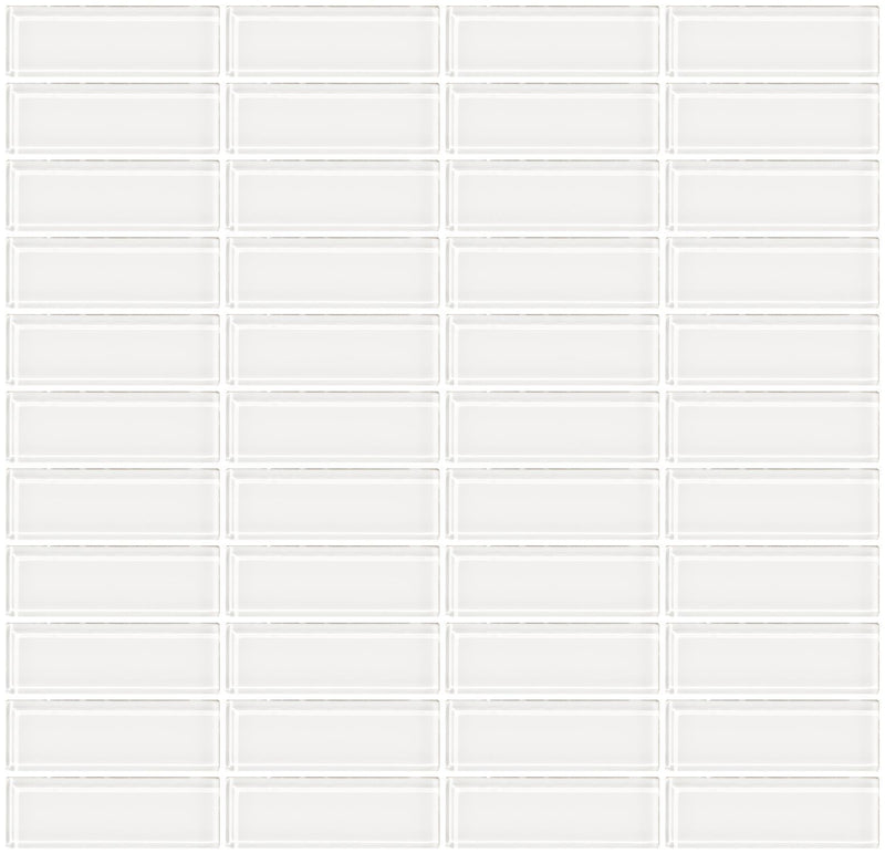 1x3 Inch Super White Glass Subway Tile Stacked