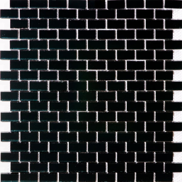 Full Sheet of 5/8 Inch Subway Black Mirror Glass Tile