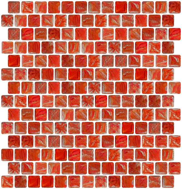 3/4 Inch Red Marbled Glass Tile Offset