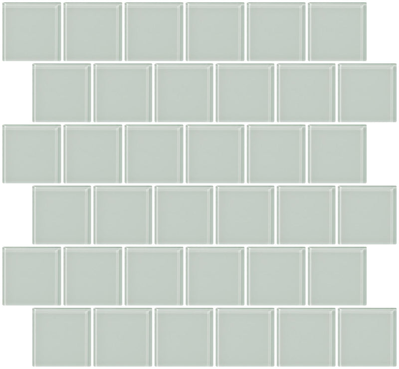 2x2 Inch White Glass Tile Offset