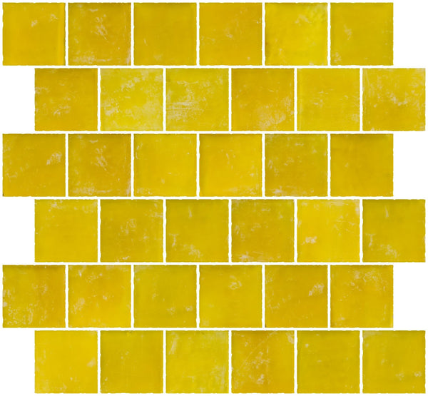 2x2 Inch Matte Sunshine Yellow Glass Tile Reset In Offset Layout