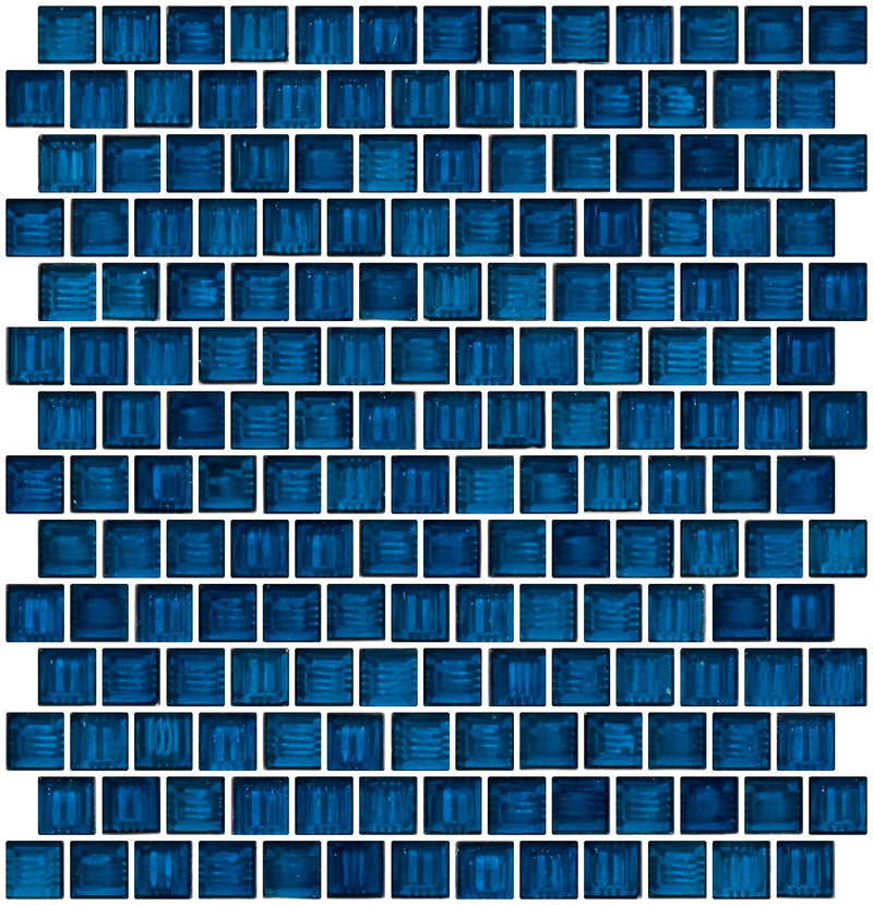 3/4 Inch Transparent Teal Blue Glass Tile Reset In Offset Layout