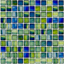 1 Inch Transparent Blue and Green Mix Glass Tile