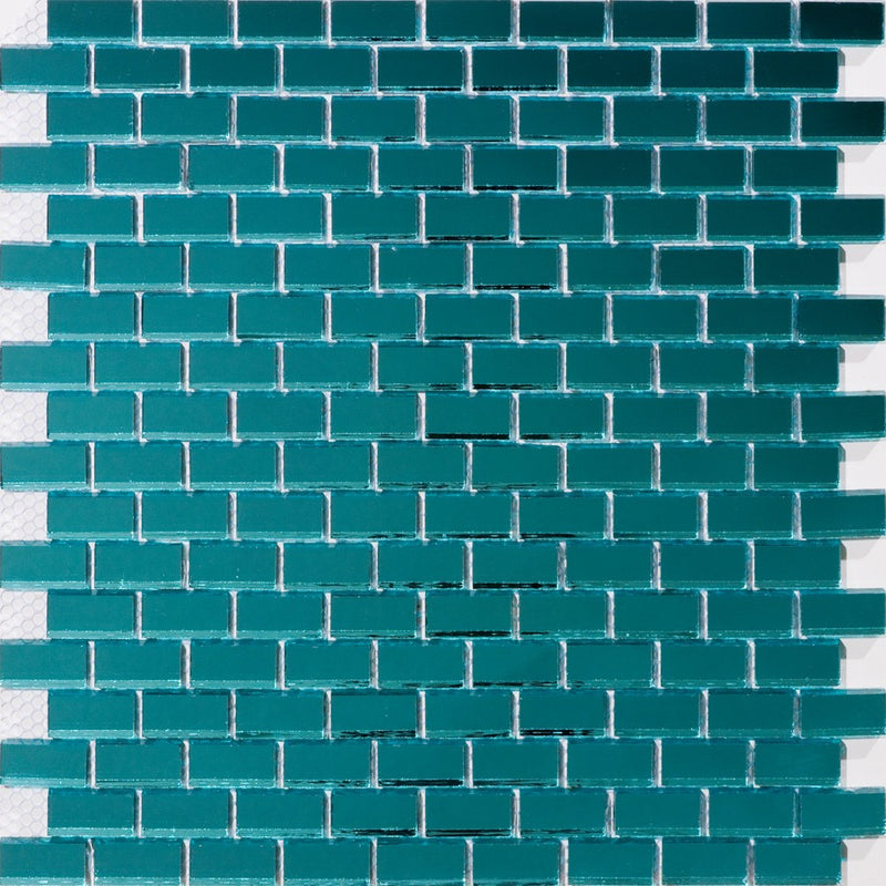 Full Sheet of 5/8 Inch Subway Teal Blue Mirror Glass Tile