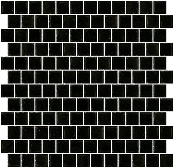 1 Inch Transparent Black Glass Tile Reset In Offset Layout