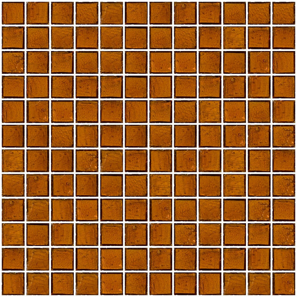 1 Inch Transparent Medium Brown Glass Tile