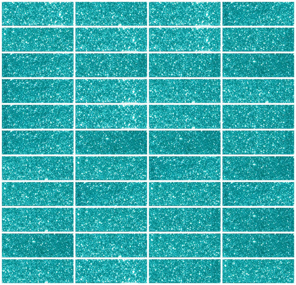 1x3 Inch Aqua Green Glitter Glass Subway Tile Stacked