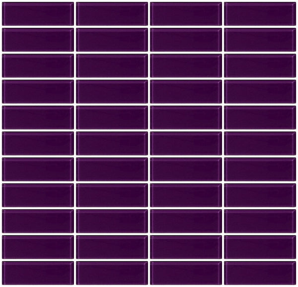 1x3 Inch Lavender Purple Glass Subway Tile Stacked