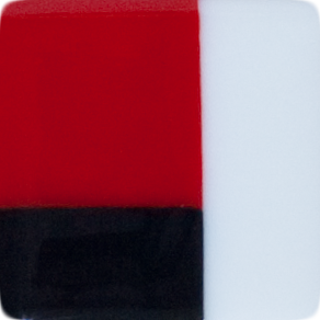 2 Inch Red Black White Opaque Fused Glass Accent Tile