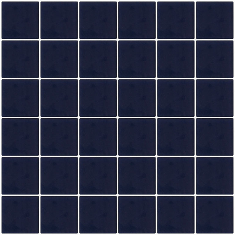 2x2 Inch Navy Blue Frosted Glass Tile