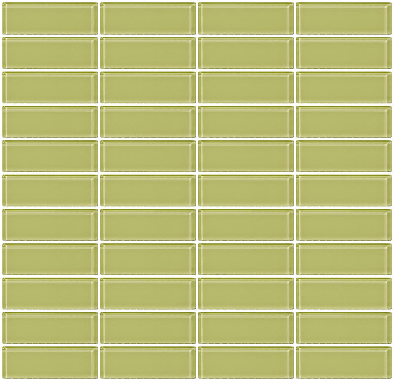 1x3 Inch Celery Green Glass Subway Tile Stacked