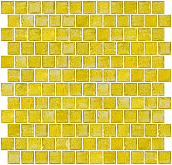 1 Inch Transparent Sunshine Yellow Glass Tile Reset In Offset Layout
