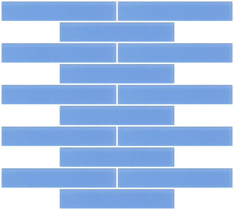 1x6 Inch Periwinkle Blue Frosted Glass Subway Tile Reset In Running-brick Layout