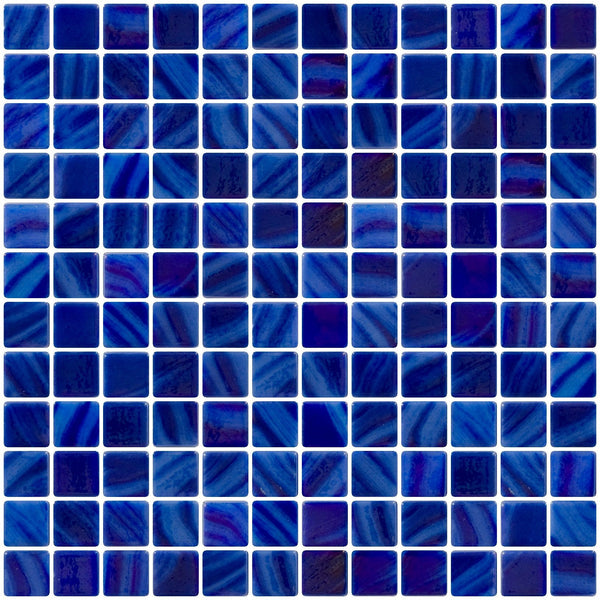 1 Inch Dark Periwinkle Blue Iridescent Recycled Glass Tile