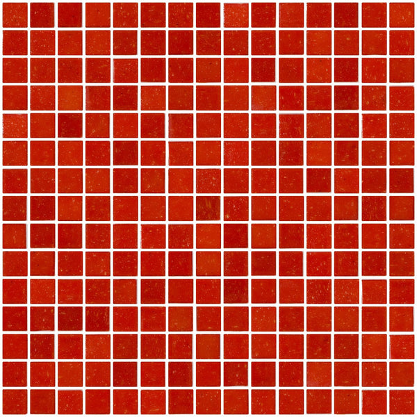 3/4 Inch Red Orange Glass Tile
