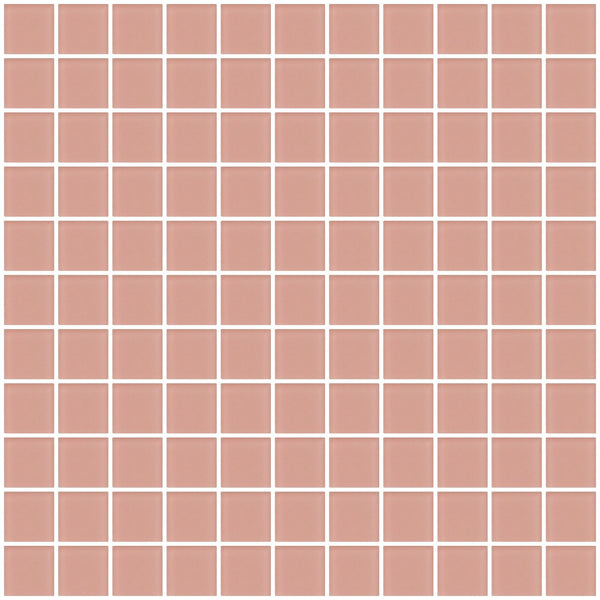 1 Inch Rose Pink Frosted Glass Tile