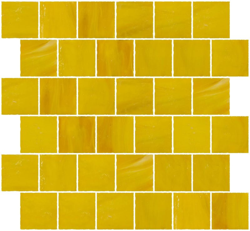 2x2 Inch Opaque Sunshine Yellow Glass Tile Reset In Offset Layout