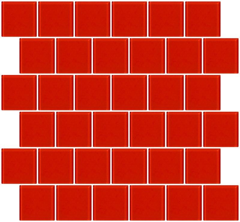 2x2 Inch Tomato Red Glass Tile Offset