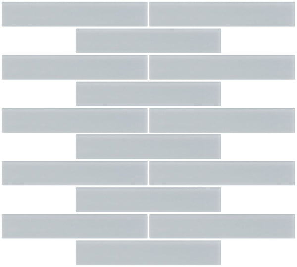 1x6 Inch Gray Frosted Glass Subway Tile Reset In Running-brick Layout