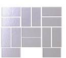 Quarter Sheet of 1 X 2 INCH SILVER MIRRORED GLASS TILE IN BASKET-WEAVE LAYOUT