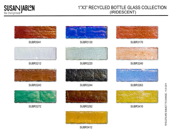 1x3 Inch Iridescent Oceanstyle Bottle Glass Sample Board