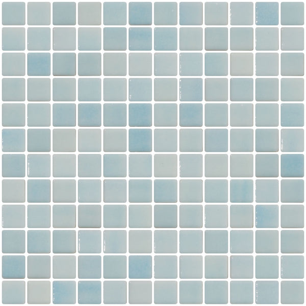 1 Inch Aqua Blue Dapple on White Recycled Glass Tile