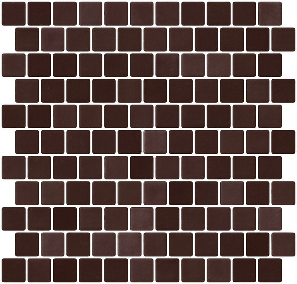 1 Inch Smooth Chocolate Brown Recycled Glass Tile Offset