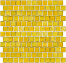 1 Inch Transparent Deep Sunshine Yellow Glass Tile Reset In Offset Layout