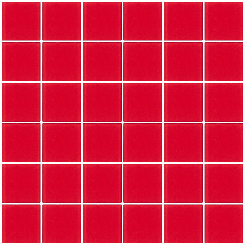 2x2 Inch Red Frosted Glass Tile
