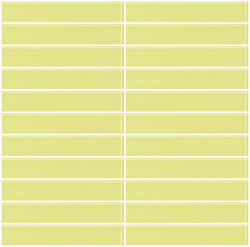 1x6 Inch Light Lime Green Glass Subway Tile
