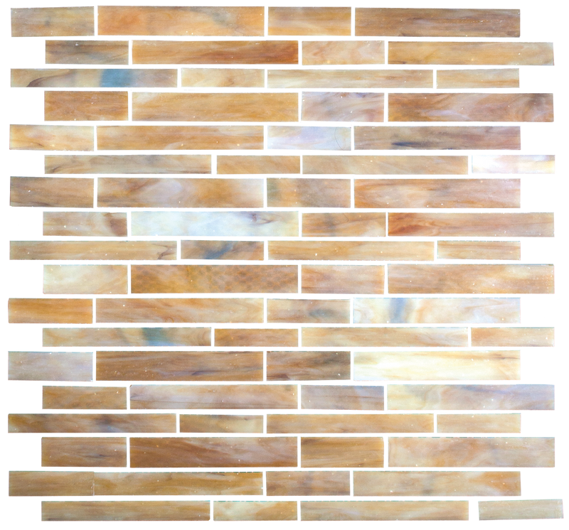 Wheat to Bone Mix Stained Glass Handcut Glass Tile