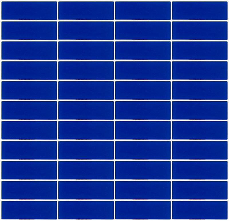 1x3 Inch Cobalt Blue Frosted Glass Subway Tile Stacked