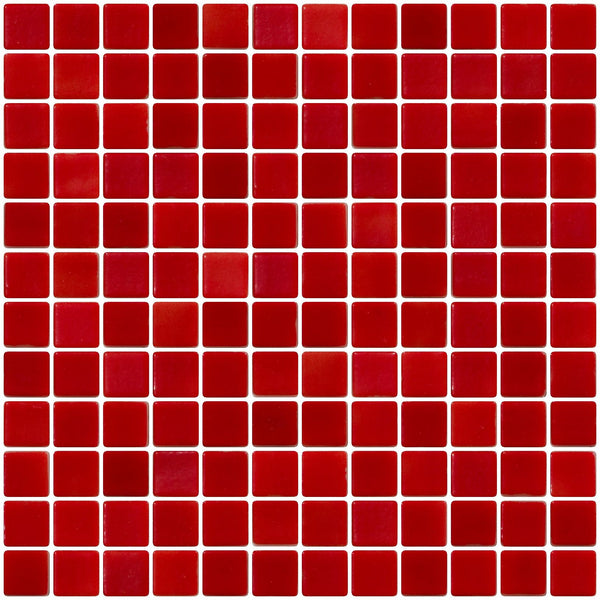 1 Inch Red on White Recycled Glass Tile