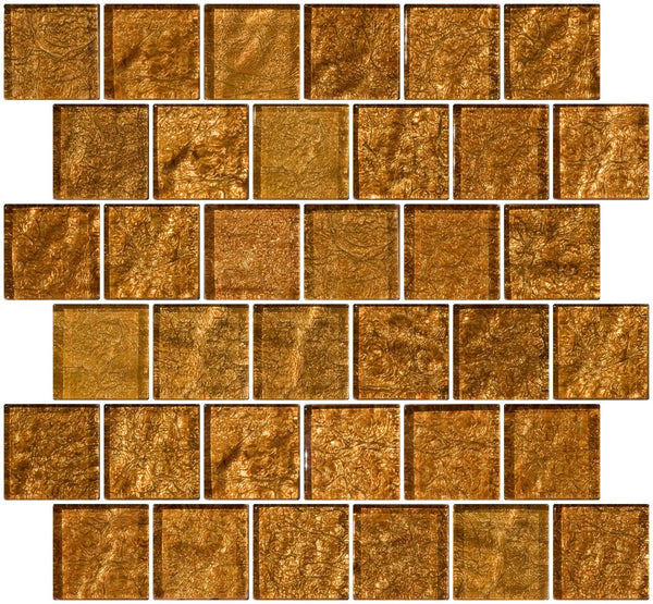 2x2 Inch Cinnamon Shimmer Brown Metallic Glass Tile