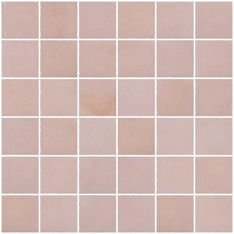 2x2 Inch Opaque Blush Pink Glass Tile