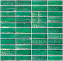 1x3 Inch Teal Green Iridescent Glass Subway Tile Stacked