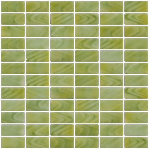 1x2 Inch Sage Green and Cream Swirl Recycled Subway Glass Tile