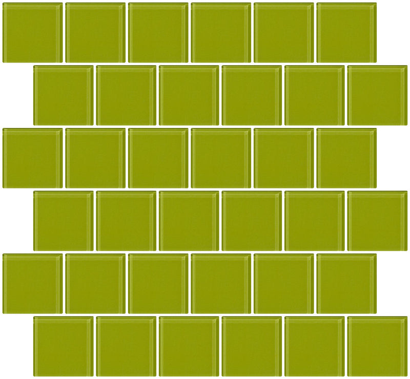 2x2 Inch Lime Green Glass Tile Offset