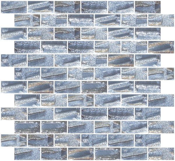1x2 Inch Dove Gray Textured Recycled Glass Subway Tile RB