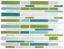 Teal Lime and White Linear Glass Tile Blend