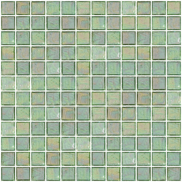 1 Inch Clear Green Iridescent Glass Tile