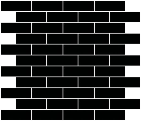 1x3 Inch Black Mirror Glass Subway Tile Reset In Running-brick Layout