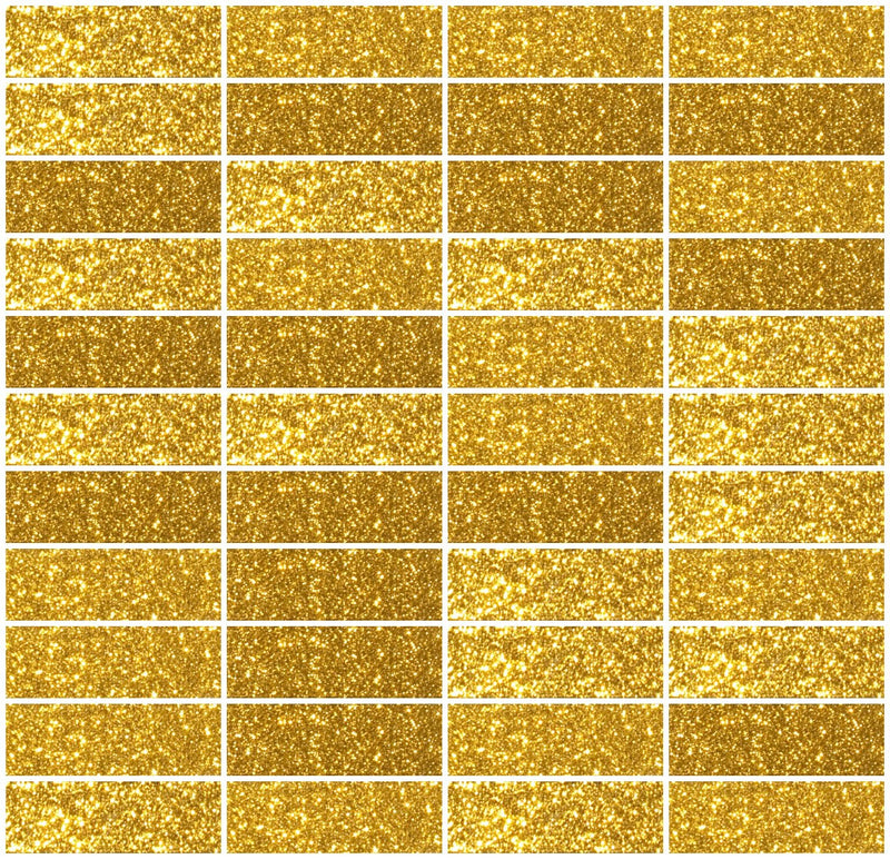 1x3 Inch Gold Glitter Glass Subway Tile Stacked Layout